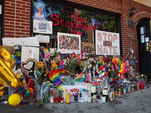 Stonewall Inn, a gay bar on Christopher Street in Manhattan's Greenwich Village.  2016