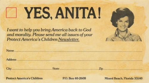 Fundraising card used by Anita Bryant to support Save Our Children.